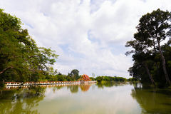 Church in the pond. Luang Pho Wat Pho temple in the Grand Hall of the Great Phuttharam. A rock the size of a doll, but instead went to the temple by holding back stock image