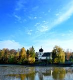 Church at pond Royalty Free Stock Photography