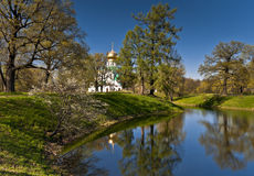 Church and pond in spring Royalty Free Stock Images