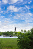 Church and port in Naantali, Finland. Church, sky and port in Naantali, Finland Stock Images