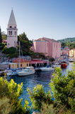 Church and port at Veli Losinj. Croatia Stock Photography