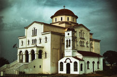 Orthodox Church Saint Nicholas in Porto Lagos - landmark attraction in Greece. Image processed to look like an old photo Stock Photo