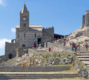 The church in Porto Venere, Italy. On the Mediterranean coast. Royalty Free Stock Photos