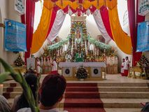 Church Prayer for the Calenda San Pedro in Mexico. SAN PEDRO APOSTAL, OAXACA-July 3, 2016. Local residents attend a special service at the Church of St Peter stock photo