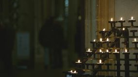 Church Prayer Candle Holders stock video footage
