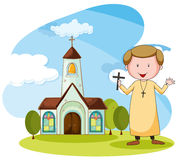 Church and priest. Priest standing in front of the church Stock Photo