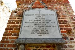Church of Prince william`s parish Sheldon old church ruins South Carolina. The tablet outside of the remaining ruins of Church of Prince William`s Parish known stock photography
