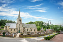Church and priory of St Hymer, scenic landscape of the french countryside of Normandy, France Stock Images
