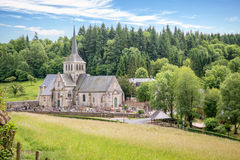 Church and priory of St Hymer, scenic landscape of the french countryside of Normandy France Royalty Free Stock Photography