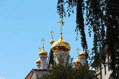 The Church of Prophet Iliya, Nizhny Novgorod. View fron the Kremlin hill on The Church of Prophet Iliya in Nizhny Novgorod Stock Photo