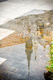 Church in the puddle. Reflection of the Saint Mattia's Church in Budapest Royalty Free Stock Images