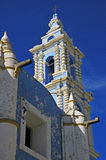 Church in Puebla Mexico. Church in the historic district of Puebla Mexico against crisp morning sky Stock Photo