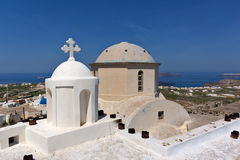 Church in Pyrgos Kallistis and Panoramic view to Santorini island Royalty Free Stock Image