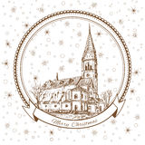 The Church of Queen Luisa, Luizenvahl. Landmark of the Kaliningrad, Russia, Vector Christmas greeting card with symbol. Of the Konigsberg and snowflake Royalty Free Stock Image