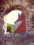 Church in Rabí, West Bohemia. Rabí is a ruined castle in Southwestern Bohemia. View through the window. The photo was taken on September 15, 2016 Royalty Free Stock Photo