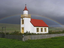 A church with a rainbow Royalty Free Stock Photography