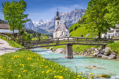 Church of Ramsau, Nationalpark Berchtesgadener Land, Bavaria, Germany. Scenic mountain landscape in the Bavarian Alps with famous Parish Church of St. Sebastian Stock Photography