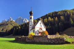 Church of Ranui in the Dolomite Alps Royalty Free Stock Photography