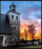 Church of Rauma. Church Rauma Sunset Birds Finland Stock Image