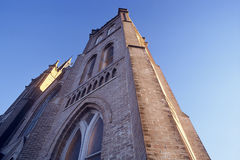 Church Reaching Skyward. Big Brick Church stock image