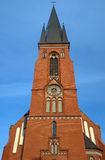 Church of red brick tower Stock Image