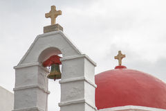 Church with Red Dome in Mykonos Greece Royalty Free Stock Images