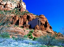 Church. With Red Rock in Sedona, Arizona stock images