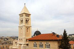 The Church of the Redeemer, Jerusalem. View of Jerusalem old city and the Lutheran Church of the Redeemer, Israel Royalty Free Stock Image