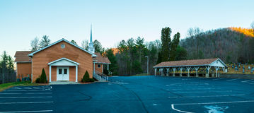 Church and refectory, Georgia, USA. Panoramic view of the church, the refectory and the parking located on Unicoi Turnpike, Georgia, USA stock photo