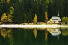 Church Reflection on Lago di Braies, Dolomites, Italy Royalty Free Stock Images