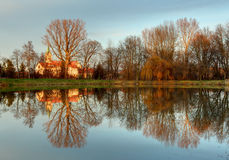 Church with reflection in pond, Cifer Royalty Free Stock Photo