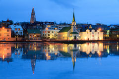 Church reflection Reykjavik Stock Image