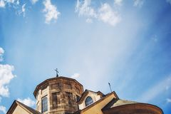 Church religion concept image. Church with a blue sky background.  stock photography
