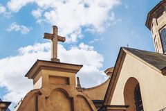 Church religion concept image. Church with a blue sky background.  royalty free stock image