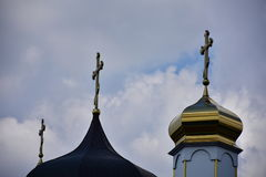 Church, religion, dome, blue sky, white clouds, cross, Christianity, window, building, Stock Photo