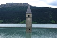 Church of Reschenpass in the water Stock Photography