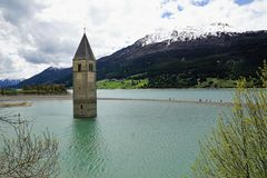 Church at Reschensee Lago di Resia in north italy Stock Images