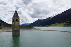 Church at Reschensee Lago di Resia in north italy Royalty Free Stock Photos