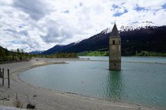 Church at Reschensee Lago di Resia in north italy Royalty Free Stock Photo