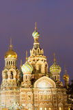 Church of the Resurrection Christ , St Petersburg, Russia at night stock image