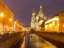 Church of the Resurrection Christ , St Petersburg, Russia at night Stock Photo