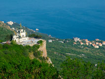 Church of the resurrection. Foros. Crimea, Ukraine. Top view royalty free stock photography