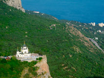 Church of the resurrection. Foros. Crimea, Ukraine. Top view stock image