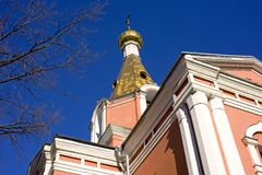 Church of the Resurrection in St. Petersburg cemetery Royalty Free Stock Photo