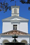 Church in Reunion Island. Church pediment sculpture symmetry detail Royalty Free Stock Images