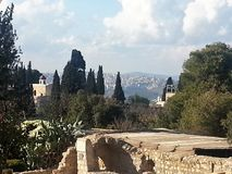 Church of Revelation. Located on the edge of Mount Tabor, the surroundings and the church are very impressive due to the view from the area Royalty Free Stock Photos