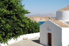 Church on Rhodes Island, Greece. Greek Orthodox Christian church on the Greek island of Rhodes near Lindos town royalty free stock photography