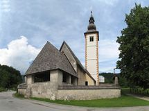 Church in Ribcev Laz in Triglav national park Royalty Free Stock Photo