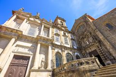 Church in Riberira Porto. Prospective view of baroque main portal and gothic rose window of main facade of Church of Third Order of St. Francis or Igreja da stock image