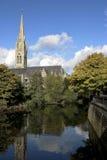 Church on river Avon Stock Image